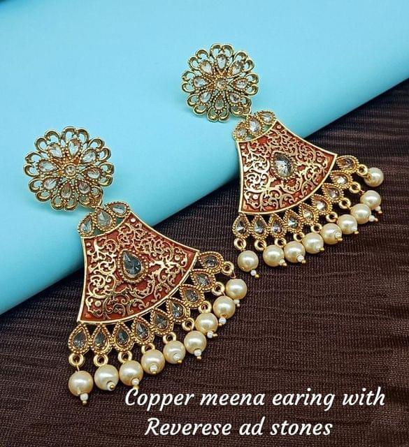 Red Wedding Earrings Gold Tone Kundan Jhumki Jhumka Indian Jewelry Fashion