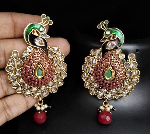 Red Peacock Wedding Earrings Gold Tone Kundan Jhumki Jhumka Indian Jewelry Fashion