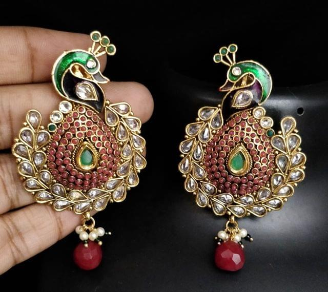 Red Peacock Wedding Earrings Gold Tone Kundan Jhumki Jhumka Indian Jewelry Fashion