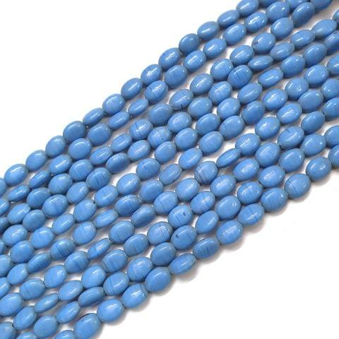 Opaque Blue Oval Glass Bead Strings