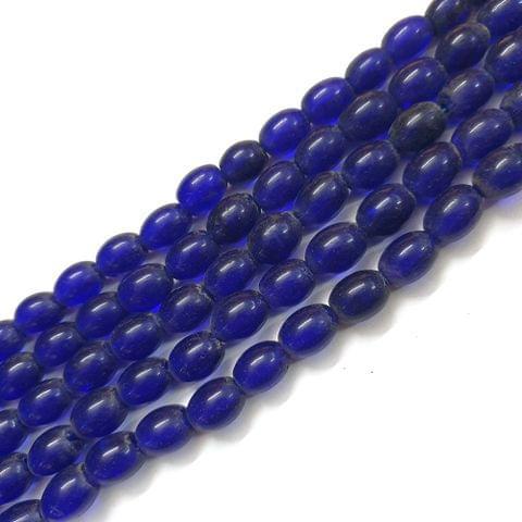 Dark Blue Oval Glass Bead Strings