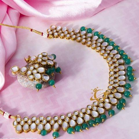 Traditional Beads & Kundan Studded Gold Plated Necklace Set for Women/Girls Green