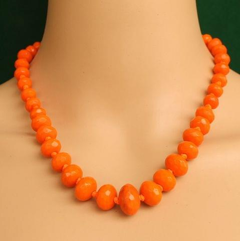 Graduated Orange Rondelle Faceted Crystal Glass Necklace