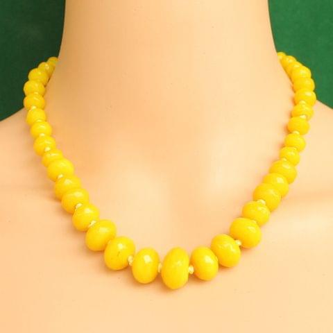 Graduated Yellow Rondelle Faceted  Crystal Glass Necklace