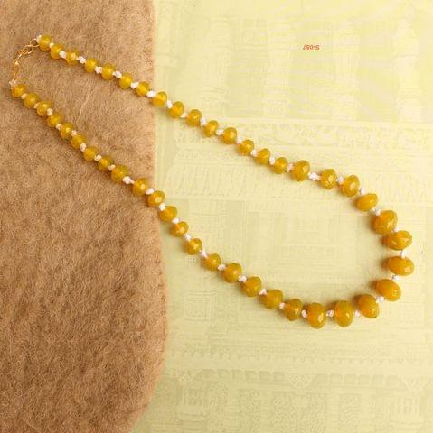 Yellow Rondelle Faceted  Crystal Glass Necklace