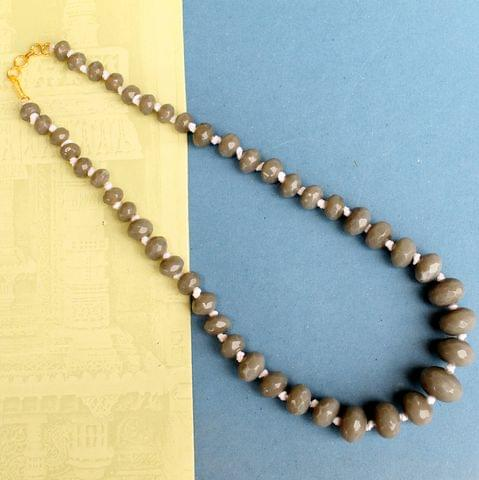 Grey Rondelle Faceted  Crystal Glass Necklace