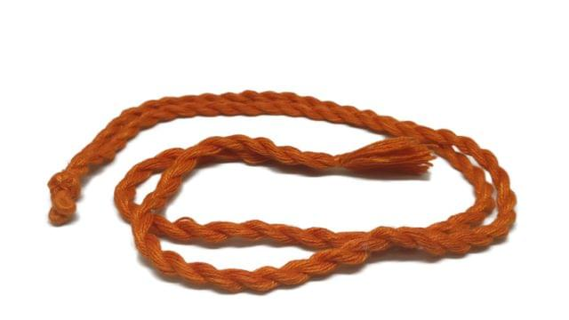 Handmade Jewellery Making Cotton Dori Adjustable Rope Orange Pack of 5 Pieces 32inch