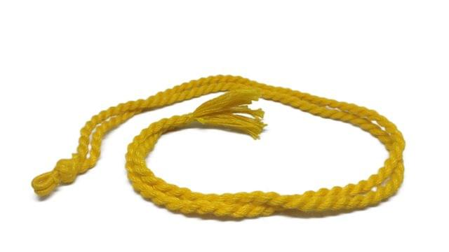 Handmade Jewellery Making Cotton Dori Adjustable Rope Yellow Pack of 5 Pieces 32inch