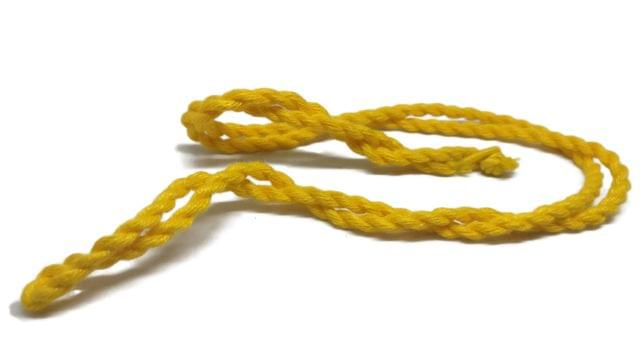 Handmade Jewellery Making Cotton Dori Rope Yellow Pack of 5 Pieces 30inch