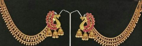 Peacock Earrings with Earchain Pink Gold Tone Kundan Pearl India