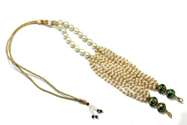 Pearl and Meenakari Beaded Adjustable Dori Green, Pck Of 1 Pc