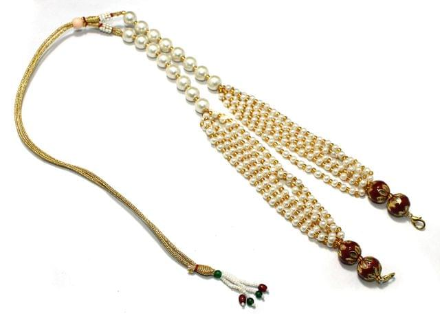 Pearl and Meenakari Beaded Adjustable Dori Red, Pck Of 1 Pc