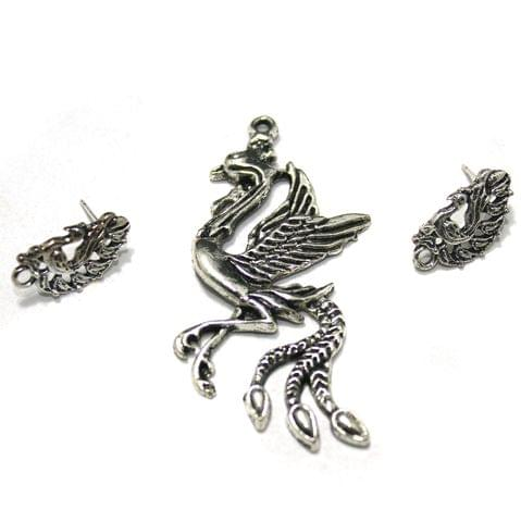 German Silver Peacock Pendant with Earrings, Pack Of 5 Sets