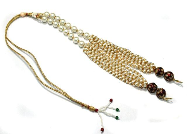 Pearl and Meenakari Beaded Adjustable Dori Maroon, Pck Of 1 Pc