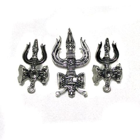 German Silver Lord Shiva Trishul Pendant with Earrings Set, Pack Of 5 Sets