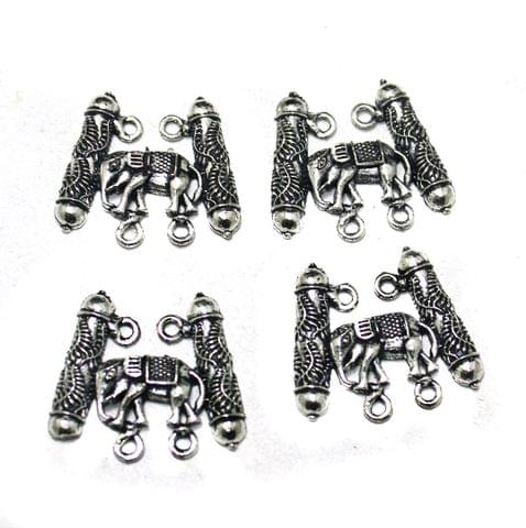 German Silver Elephant Pendants, Pack Of 10 Pcs, Size: 25 mm