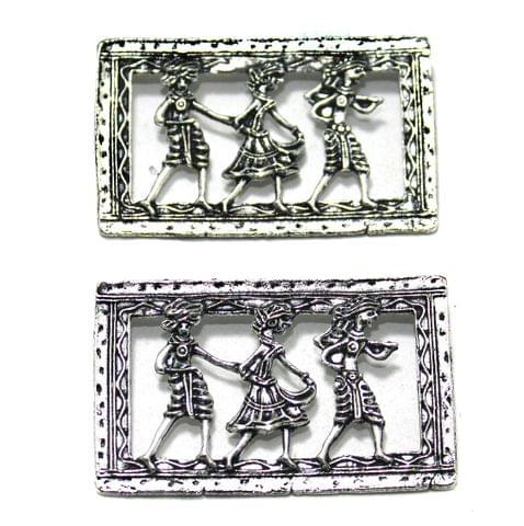 German Silver Pendant, Pack Of 4 Pcs, Size: 2x1.25 Inchs