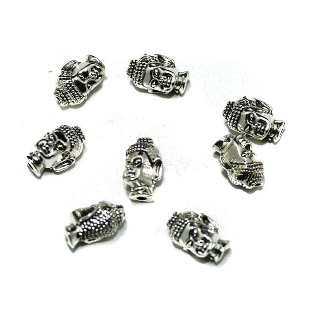 German Silver Budha Beads, Pack Of 25 Pcs, Size: 13x8mm
