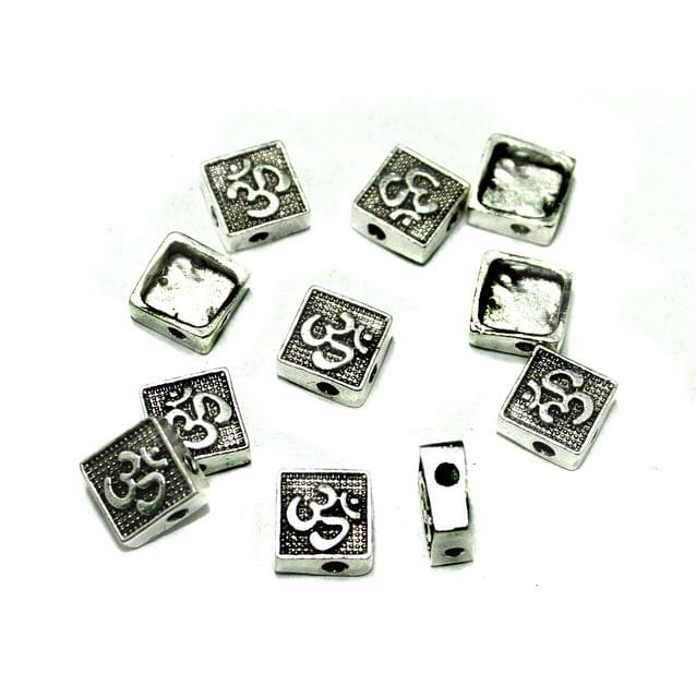 German Silver Om Beads Spacer, Pack Of 25 Pcs, Size: 10x10mm