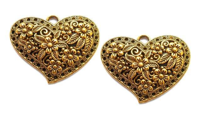 floral  pendant antique golden heart shape 2 pieces 40*30mm