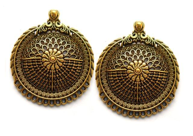 Designer pendant,antique golden,round,2 pieces,40mm