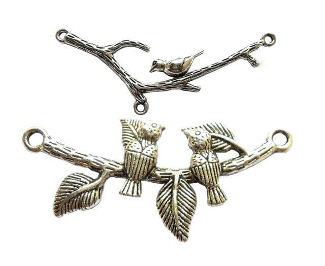 birdie pendants,silver color,2 pieces,60*20mm size