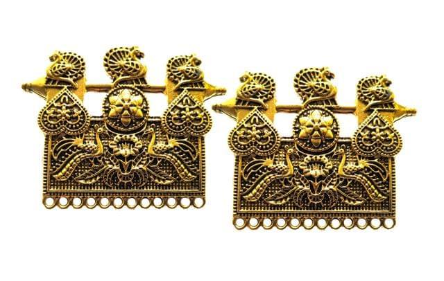 peacock pendant,antique golden,rectangle shape,2 pieces,40*50mm