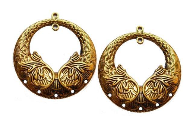 leaf designer pendant,antique golden,round,2 pieces,55mm