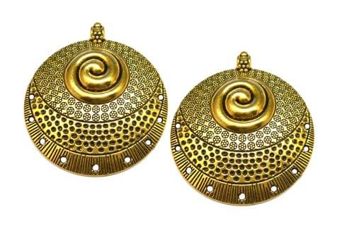 Fancy metal pendant,antique golden,round,2 pieces,50mm