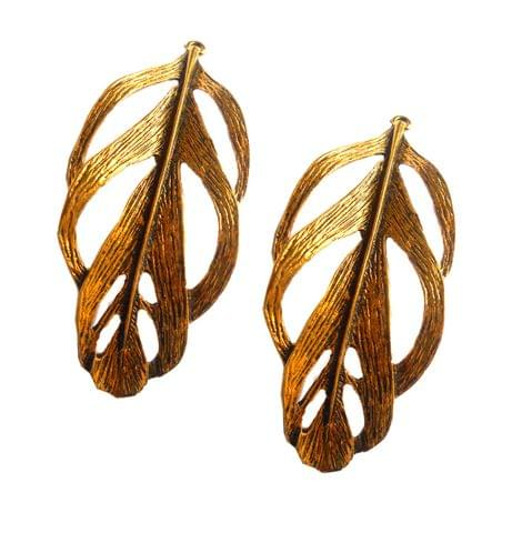 Pendants,antique golden,leaf shape,2 pieces,80*30mm