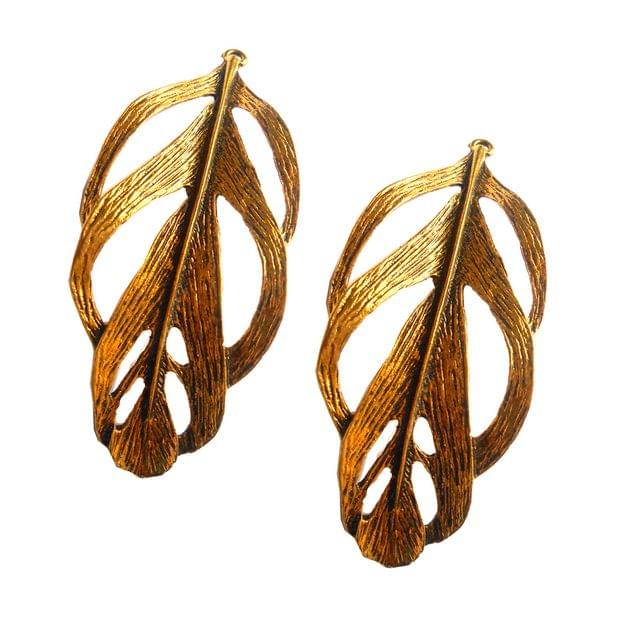 Pendants,antique golden,leaf shape,2 pieces,80*30mm