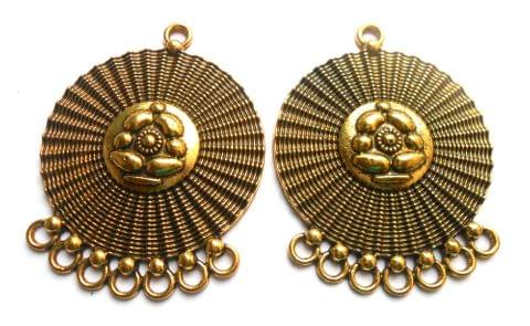 fancy pendant, antique golden,round,2 pieces,50mm*42mm
