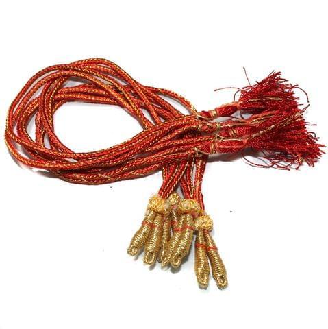 Zari Necklace Backrope Dori Orange, Pack Of 12 Pcs
