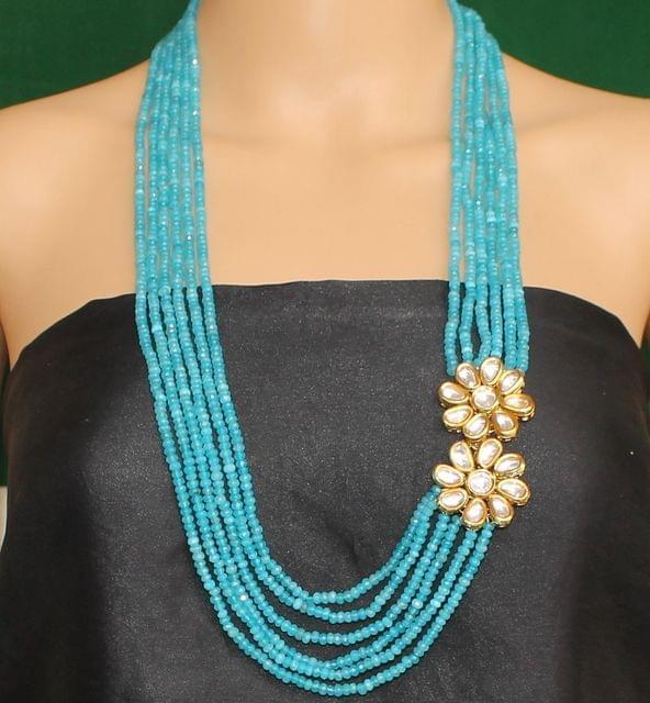 Multi layer Onyx Kundan Long Necklace Turquoise