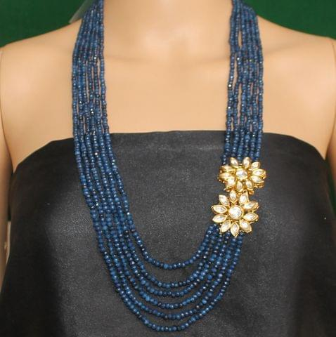 Multi layer Onyx Kundan Long Necklace Blue