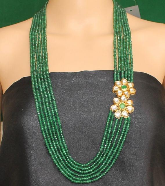 Multi layer Onyx Kundan Long Necklace Green