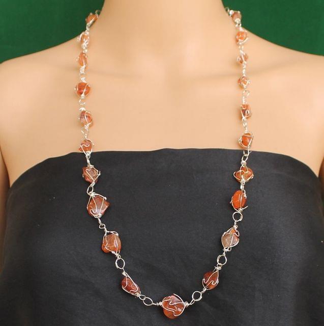 Wire Wrap Gem Stone Long Necklace Orange