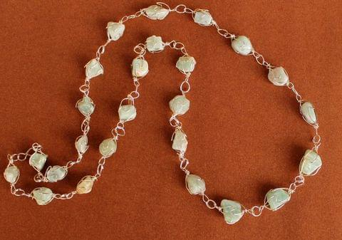 Wire Wrap Gem Stone Long Necklace Sea Green