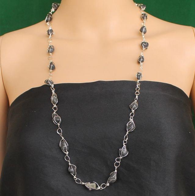 Wire Wrap Gem Stone Long Necklace Grey