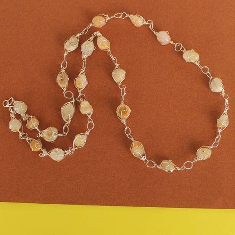 Wire Wrap Gem Stone Long Necklace Off White