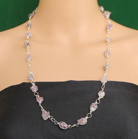 Wire Wrap Gem Stone Long Necklace Purple