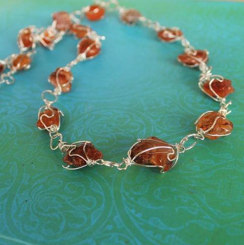 Wire Wrap Gem Stone Long Necklace Brown