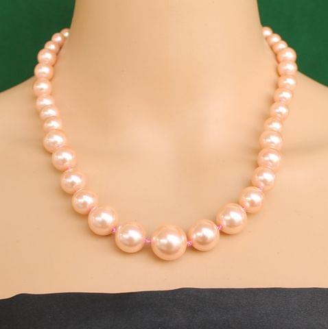 Graduated Shell Pearl Beads Necklace Peach