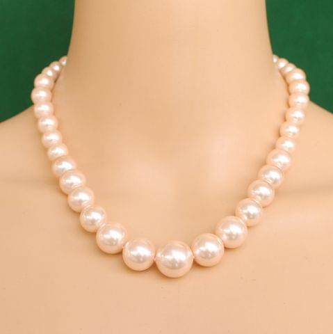 Graduated Shell Pearl Beads Necklace Pink