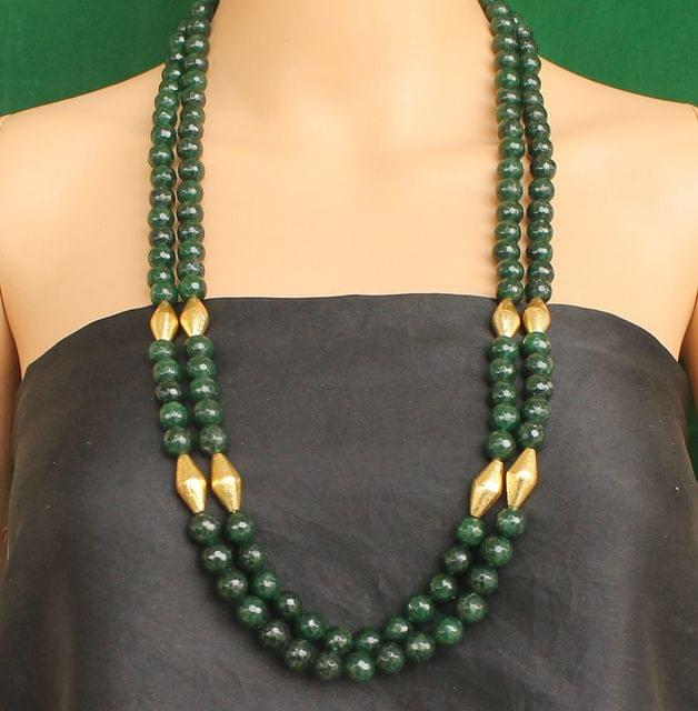 Dual Layer Faceted Stone Long Necklace Green