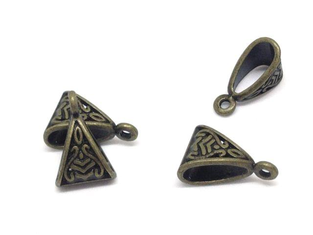 Jewellery Making Metal Alloy Pendant Bails (40 Pieces) 15x10x7mm Triangle Antique Bronze Color