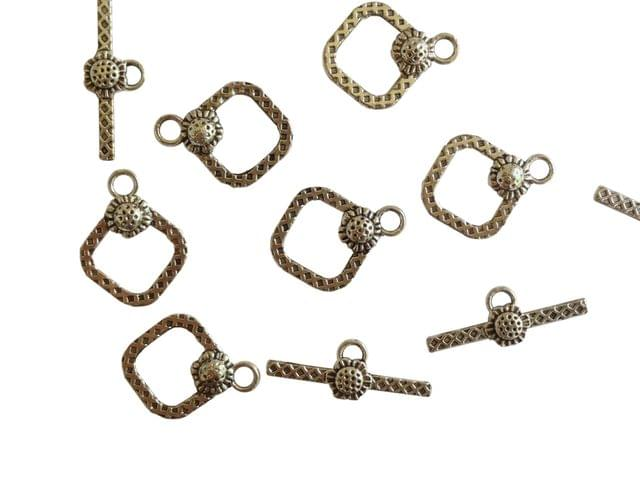Jewellery Making Metal Alloy Toggle Clasps (20 sets) 19x15x3mm Stick Size:9x23x3mm Square Antique Silver Color