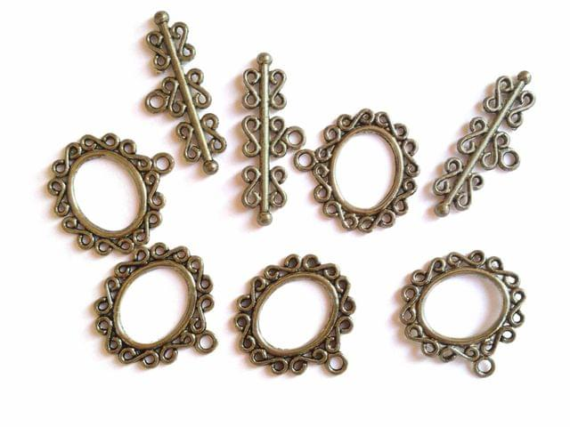 Metal Alloy Toggle Clasps (20 Sets) for Jewellery Making 23x1mm Stick Size:12x32x2mm Oval Antique Silver Color