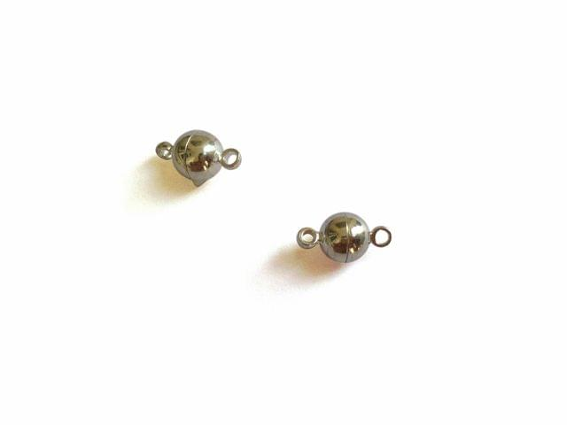 Jewellery Making Brass Magnetic Clasps 12x6mm Round Silver Color (Pack of 6 pieces)
