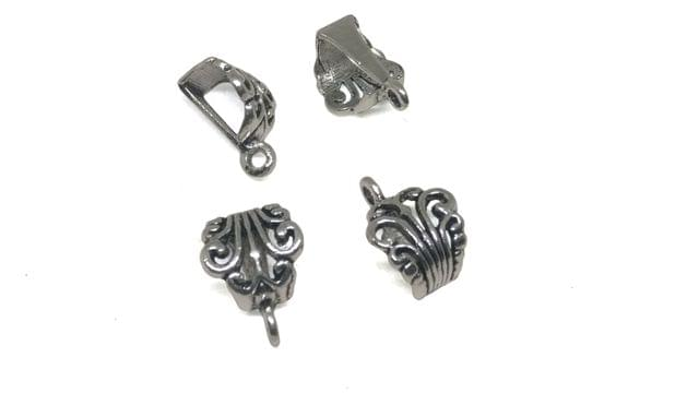 Jewellery Metal Alloy Pendant Bail 17x12x8mm Triangle Antique Silver Color (Pack of 30 pieces)